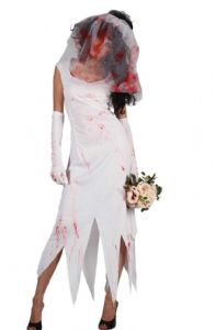 Zombie Bride ladies Halloween fancy dress costume